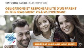 """#VIDEO - Conférence """"Parent, beau-parent : quelle responsabilité, quelles obligations vis-à-vis d'un enfant ?"""""""