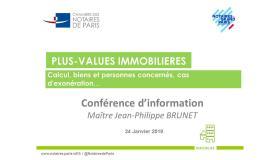 Conférence sur les plus-values immobilières (Janvier 2019)